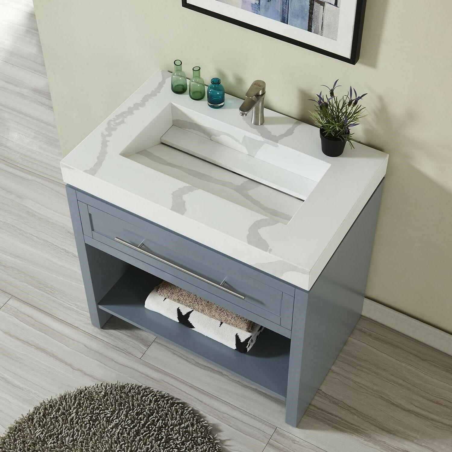 "Bathroom Calacatta Quartz w/ Integrated Sink - 36"" x D"
