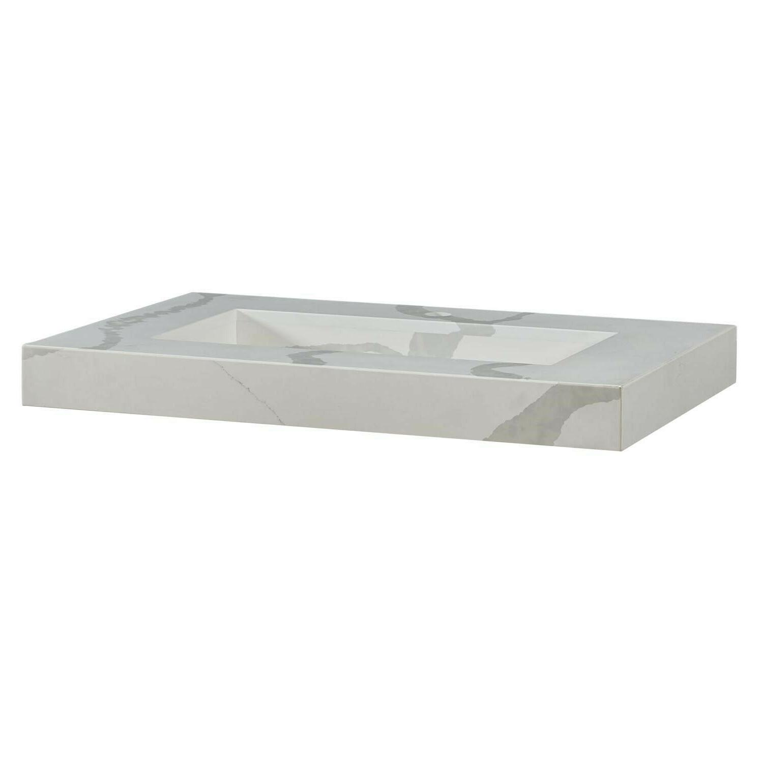 Bathroom Vanity Calacatta White Quartz w/ Integrated Sink