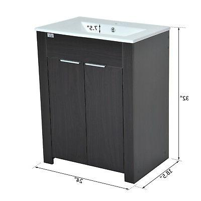 HomCom Vanity and Sink Storage Cabinet Ceramic Coffee