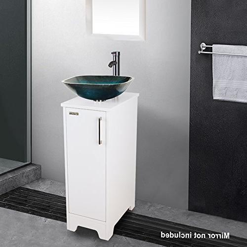 eclife and Combo Small Vanity Turquoise Tempered Glass Vessel Save & Solid Brass Drain