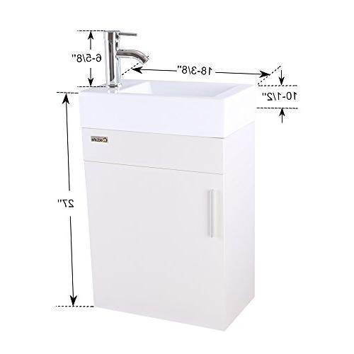 eclife Bathroom Vanity W/Sink Combo, Space White Wall Top, Chrome U Shape
