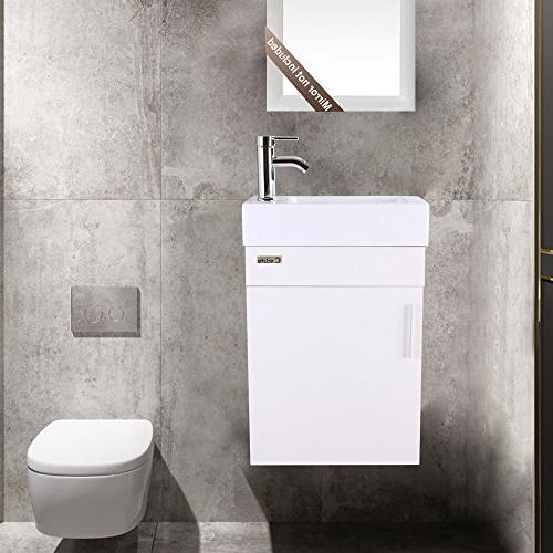"eclife Vanity W/Sink Combo, 18.4"" Space MDF White Set, Ceramic Top, Chrome Faucet U Drain"