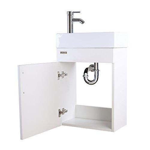 "eclife Combo, 18.4"" for Space MDF Modern White Wall Mounted Set, Porcelain Ceramic Top, Faucet W/Flexible U Shape Drain"
