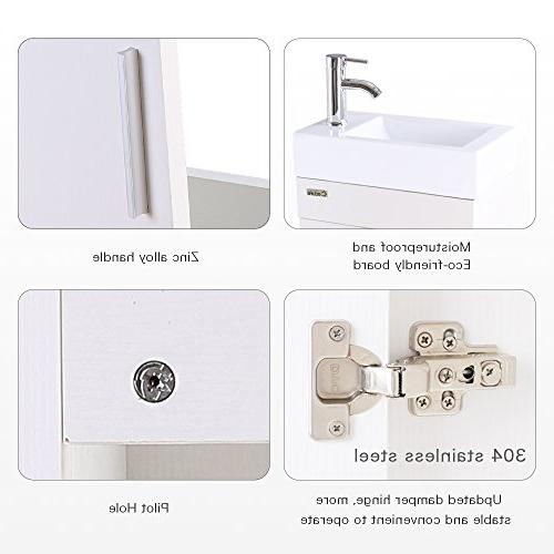 """Combo, 18.4"""" for Space Modern White Wall Set, Top, Chrome Faucet W/Flexible U"""