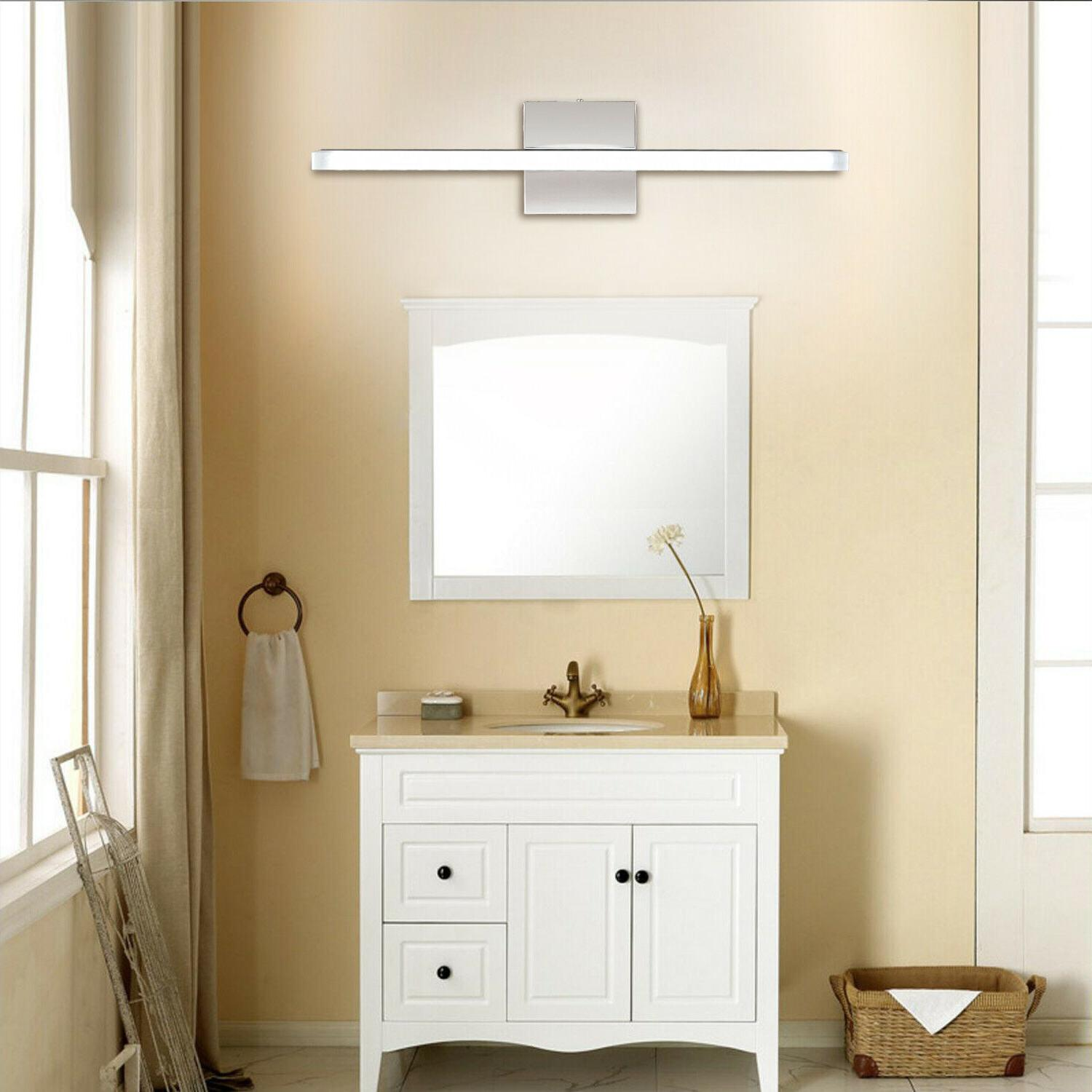 Stainless Light Wall Lamp Front Mirror Fixture White