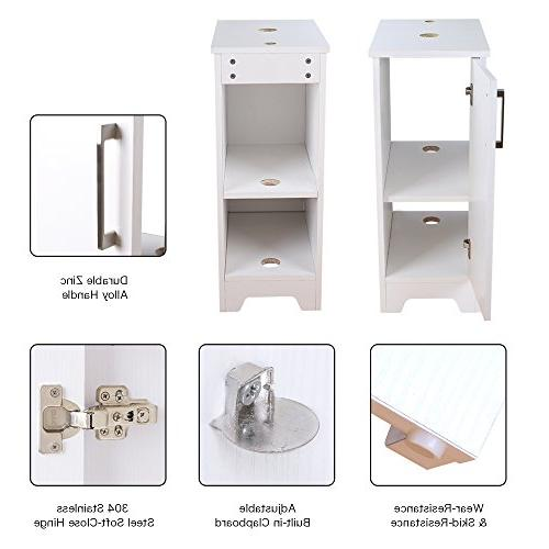 eclife Bathroom and Sink White Small Vanity Tempered Sink & GPM Save Faucet Brass Pop Up