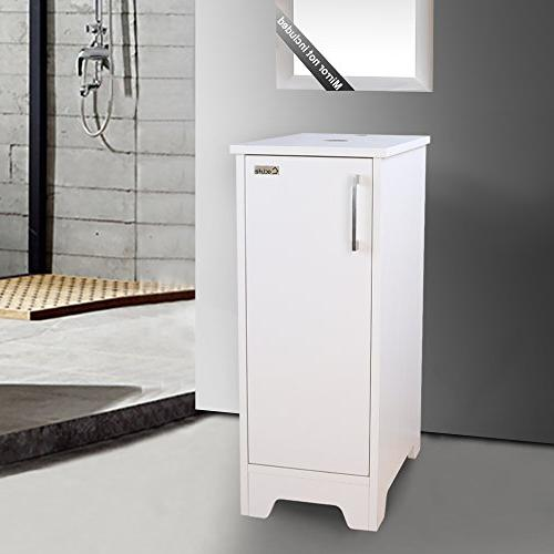 "eclife Bathroom White 14"" Single Vanity Cabinet Adjustable Vanity B08W"