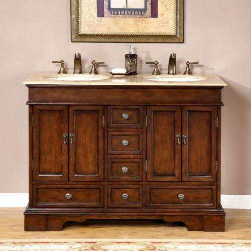 """48"""" Compact Stone Top Bathroom Vanity Small Double Cabinet"""