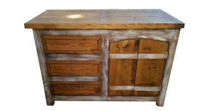 Crusaders Rustic Wood Curved Doors Bathroom Cabinet