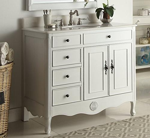 "38"" Benton Collection White Sink Vanity HF-837AW-BS"