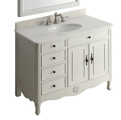 "38"" Benton Collection Distressed White Bathroom Vanity"