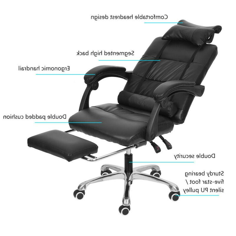 Gaming Chair Ergonomic Adjustable PU Leather Recliner Footrest