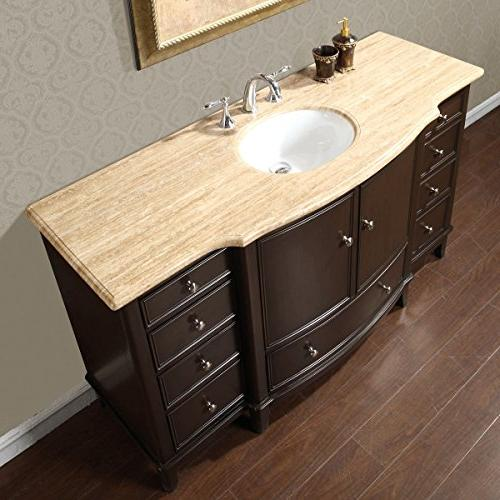 Silkroad Exclusive Gorgeous Travertine Vanity Cabinet,