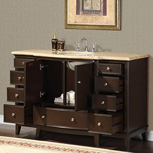 Silkroad Exclusive Travertine Vanity 60-Inch