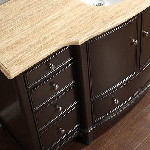 Silkroad Exclusive Travertine Top Single Vanity