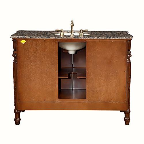 "Silkroad Exclusive Granite Stone Bathroom Vanity with 48"", Medium"