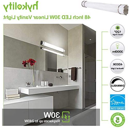 Hykolity Integrated Vanity Light bar, Wall Sconce Lighting Nickel Dimmable ETL