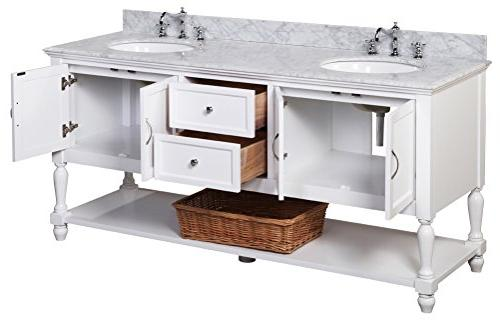 Kitchen Collection Beverly Bathroom Marble Countertop, with Soft Close 72""