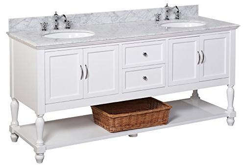 Kitchen Bath Beverly Marble Countertop, Soft Close and Undermount Ceramic Carrara/White, 72""
