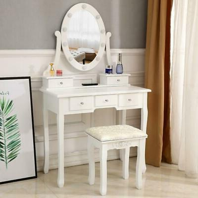 Makeup Dressing Table Vanity Set With Led White