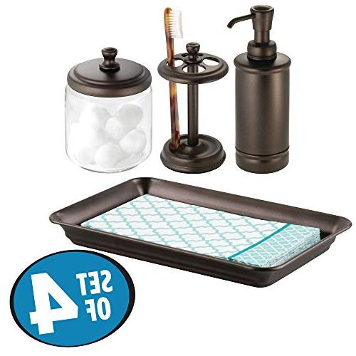 In mDesign Classic Bath Accessory Set for Bathroom Vanity Countertops and Sinks