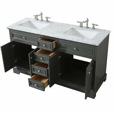 Eviva Monroe Gray Transitional Double Sink Bathroom