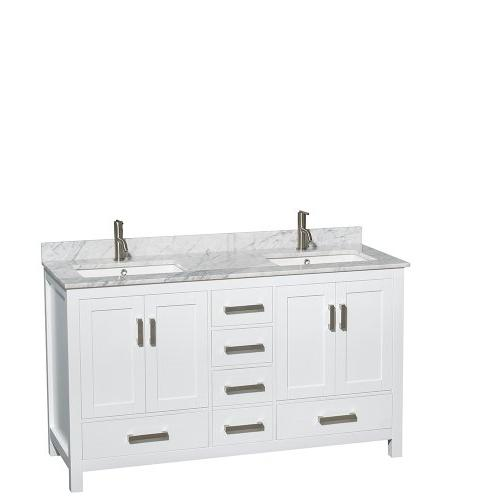 Sheffield 60 White Double Vanity, Carrera Marble Top, Underm