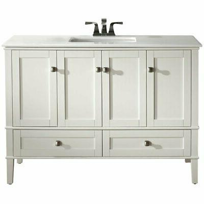 "Simpli Chelsea 48"" Wood and Quartz Marble Top Bathroom Vanity in Pure White"