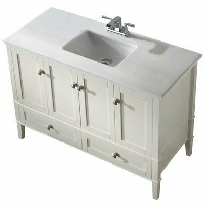 and Quartz Bathroom Vanity in Pure
