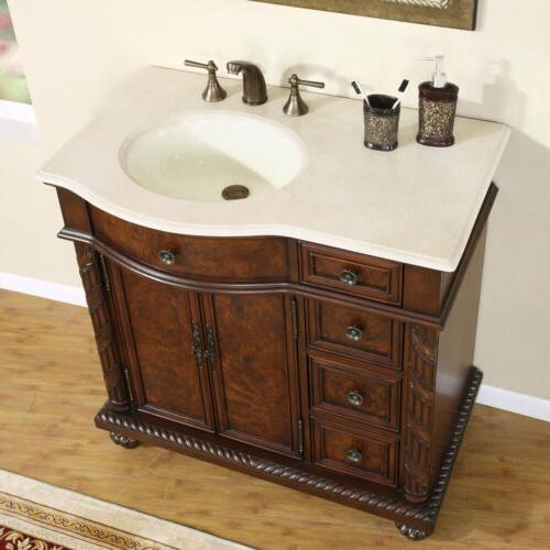 "36"" Single Sink Crema Marfil Marble Top Bathroom Vanity Cabi"