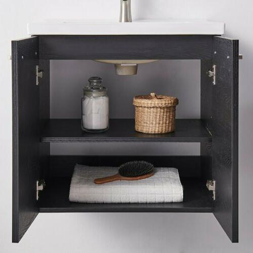 Wall-Mount Wood Cabinet Ceramic