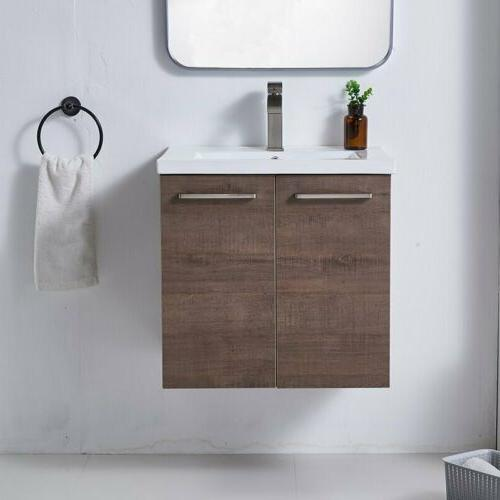 "Wall-Mount 24"" Bathroom Vanities Wood Cabinet Ceramic Vessel"