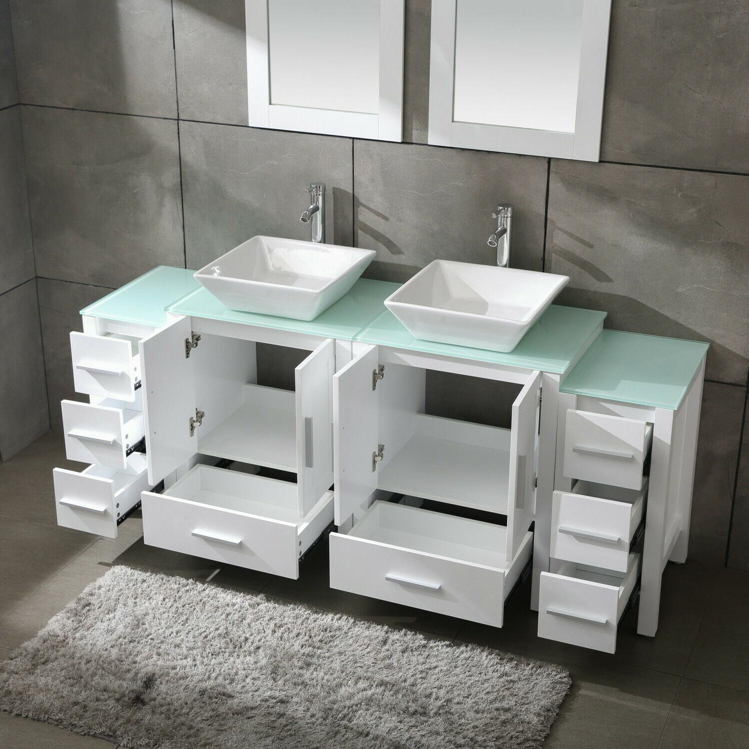"""White 72"""" Cabinet Sink Top w/Mirror,Faucet&Drain"""