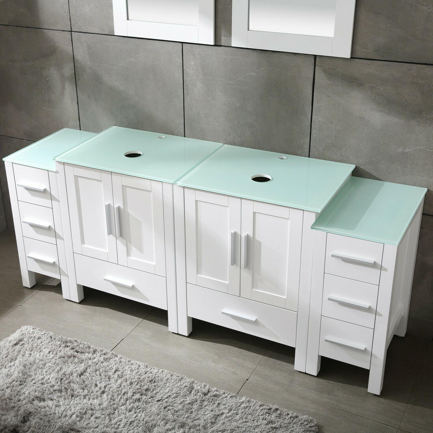 White Vanity Cabinet Glass Top