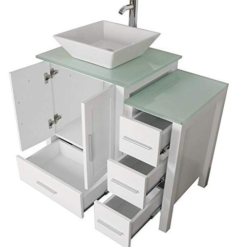 "Homecart 36"" White Vanity with Glass Faucet and"