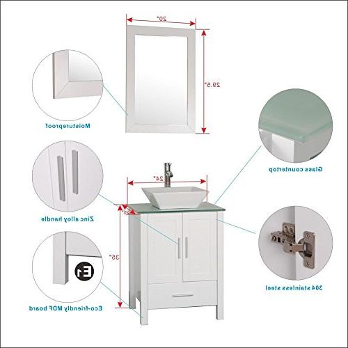 Vanity with Glass Top Vessel Faucet