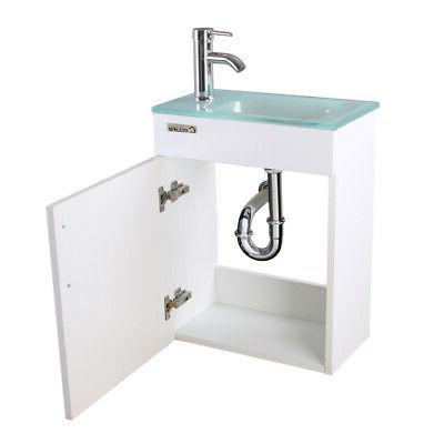 """19"""" White Wall Cabinet Sink Faucet Combo PTrap"""
