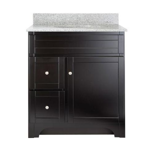 Foremost Worthington 30-Inch Espresso Vanity with Meteorite Top and Sink