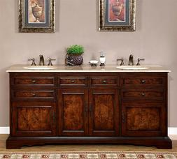"72"" Lavatory Travertine Stone Top Double Sink Bath Cabinet B"