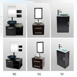 16''/24''/28'' Floating Vanity Wall Mount Cabinet Glass Cera
