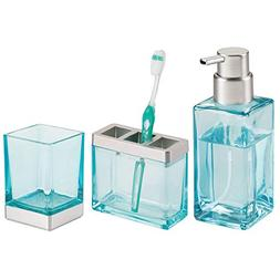 mDesign Decorative Glass Bath Accessory Set for Bathroom Van