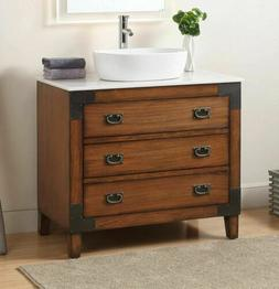 Benton Collection Marble Bathroom Vanity with Vessel Sink Ak
