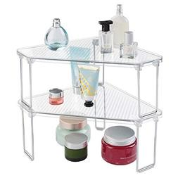 mDesign Free Standing Corner Storage Shelf for Bathroom Vani