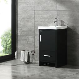 New Modern Black Bathroom Vanity Wood Cabinet W/ Top Basin V