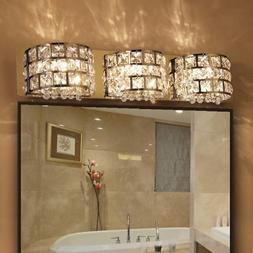Modern Clear Crystals Stainless Steel Bath Vanity Light LED