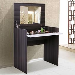 Modern Elegant Bedroom Makeup Vanity Table W/Flip-Up Mirror