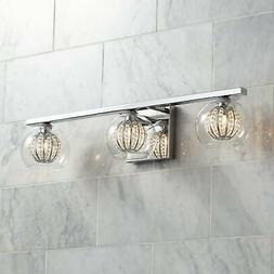 "Modern Wall Light Chrome 23 1/4"" 3-Light Fixture Crystal Glo"