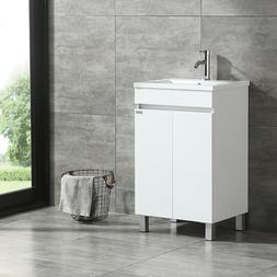 Modern Design White Bathroom Vanity Cabinet with Undermount