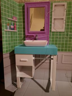 NEW Barbie BATHROOM SINK VANITY WITH MIRROR & TOWEL BAR