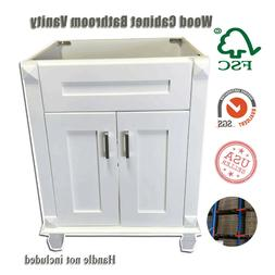New White shaker Single-sink Bathroom Vanity Base Cabinet 24